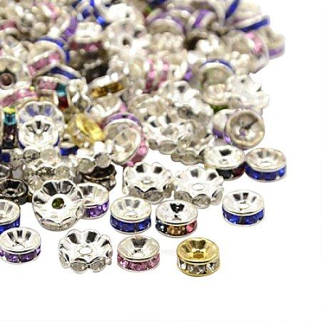 ARRICRAFT 500PCS Mixed Iron Rhinestone Spacer Beads, 6~10x3~4mm
