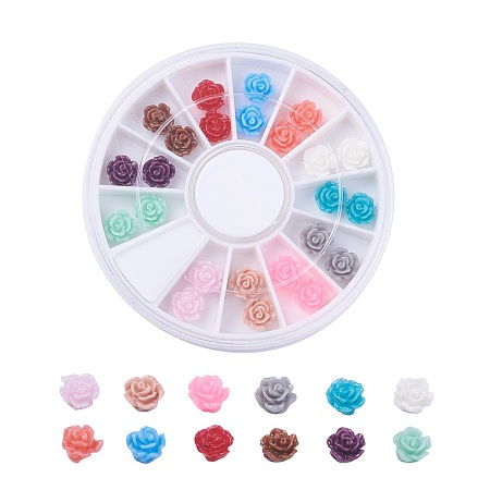 NBEADS Resin Beads, Flower, Mixed Color, 6x4mm, Hole: 1mm, 24pcs/box