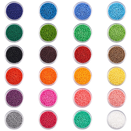 PandaHall Elite 24 Boxes of About 24000 Pcs 12/0 Multicolor Beading Glass Seed Beads 24 Colors Opaque Round Pony Bead Mini Spacer Beads Diameter 2mm with Container Box for Jewelry Making