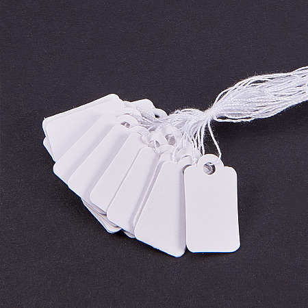 PandaHall Elite 1000Pcs/Bag Rectangle Blank Jewelry Display Paper Tag Price Label with Cotton Cord Size 23x13mm White