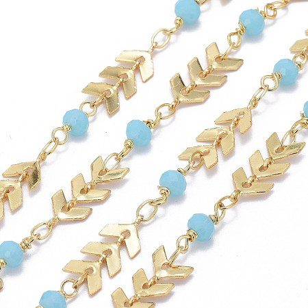 Handmade Brass Cobs Chains, with Faceted Glass Round Beads, Soldered, Long-Lasting Plated, Real 18K Gold Plated, Light Sky Blue, Real 18K Gold Plated, 7x6x1.6mm