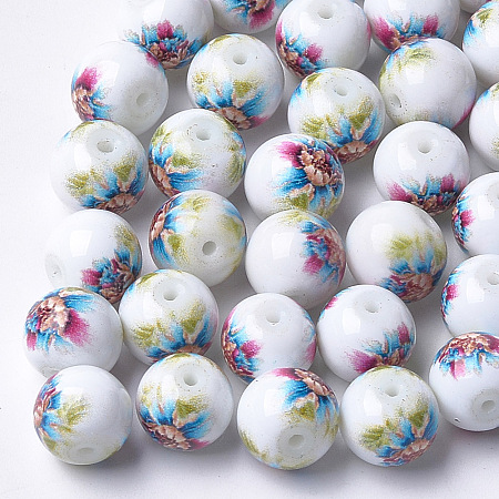 NBEADS Printed & Spray Painted Glass Beads, Round with Flower Pattern, Colorful, 8~8.5x7.5mm, Hole: 1.4mm