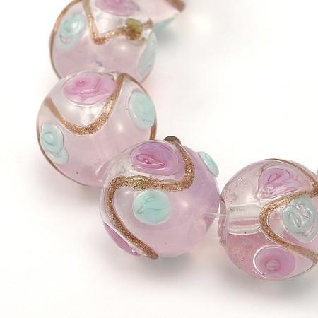 NBEADS Round Shaped Handmade Gold Sand Bumpy Lampwork Beads, LavenderBlush, 12mm, Hole: 2mm