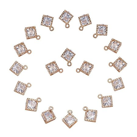 ARRICRAFT 1Bag About 100 Pcs Cubic Zirconia Alloy Rhombus Shape Charms Sets for Jewelry Making Size 14x11x5mm Platinum