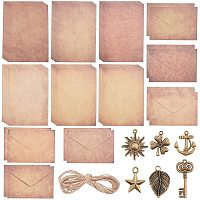 CRASPIRE Kraft Envelopes, with Cord and Leaf Pendant, Handwritten Style for Baby Showers & Wedding, Mixed Color, 19.5x13.6x0.01cm, 6 styles, 1set/sytle, 6sets/bag