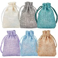 BENECREAT 30Pack 6 Color Small Burlap Bags with Drawstring Gift Bags Jewelry Pouch for Valentine's Day, Wedding Party and DIY Craft Packing, 3.5 x 2.7 Inch