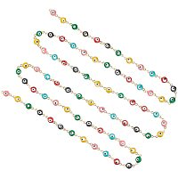 UNICRAFTALE 3.28ft/1m Stainless Steel Golden Link Chains with Flat Round with Evil Eye Stainless Steel Chains Necklace with Colorful Enamel Metal Chains for DIY Jewelry Necklace Making