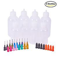 BENECREAT Multi Purpose DIY Precision Tip Applicator Bottles Set - 8 1 Ounce/1.7 Ounce Bottles, 18 Tips, 8 Caps - DIY Quilling, Glue Applicator, Oiler Bottle