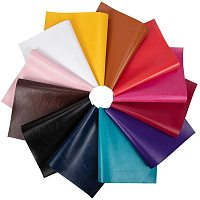 """BENECREAT 12 PCS 8"""" x 13"""" Mixed Color PU Faux Leather Sheet Canvas Back Faux Leather Sheet for Bag Dressing Sewing Craft Project"""