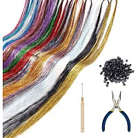 PandaHall Elite Hair Tansel Strands Kit, 15 Colors Sparkling Hair Tansel Strands Colored Hair String Extensions Strand with Aluminium Rings Hooks and Pliers Tools for Women Girls Hair Decoration