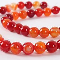 """Nbeads Natural Gemstone Agate Round Bead Strands, Dyed, OrangeRed, 6mm, Hole: 1mm; about 63pcs/strand, 15.35"""""""