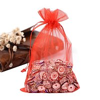 ARRICRAFT 100PCS 4x6 Inches Red Organza Gift Bags with Drawstring
