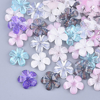 NBEADS Transparent Resin Bead Caps, End Caps for Jewelry Making, with Glitter Powder, Faceted, 5-Petal, Flower, Mixed Color, 14x14.5x2.5mm, Hole: 1mm