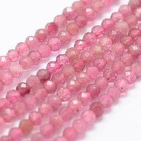 Arricraft Natural Strawberry Quartz Beads Strands, Faceted, Round, 2mm, Hole: 0.5mm, about 175pcs/strand, 14.9 inches(38cm)