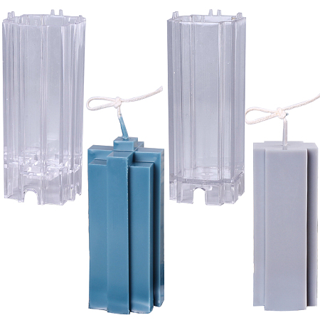 SUNNYCLUE Transparent Plastic Candle Molds, for Candle Making, Pillar Shape, Clear, 2pcs/set