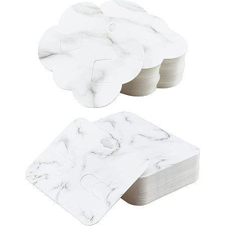 NBEADS 120 Pcs Hair Clip Display Cards, Marble Texture Pattern Jewlery Display Rectangle and Cloud Shape Cards for Hair Barrettes Accessories Display and Organizing