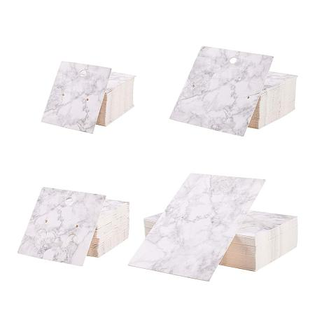 PH PandaHall 200 pcs 4 Sizes Paper Earring Cards Sets Earring Display Cards Jewelry Card Holder Organizer Tags Packing Cards for Earrings Ear Studs Necklaces Kraft, White Smoke Color