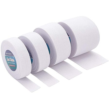 BENECREAT 22 Yards 4 Mixed Size White Flat Elastic Band Heavy Stretch Elastic Band for Sewing Craft Project - 3/4