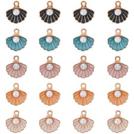 NBEADS 50 Pcs Shell Shape Alloy Enamel Pendants with Plastic Imitation Pearl Beads for Earrings Jewelry Making