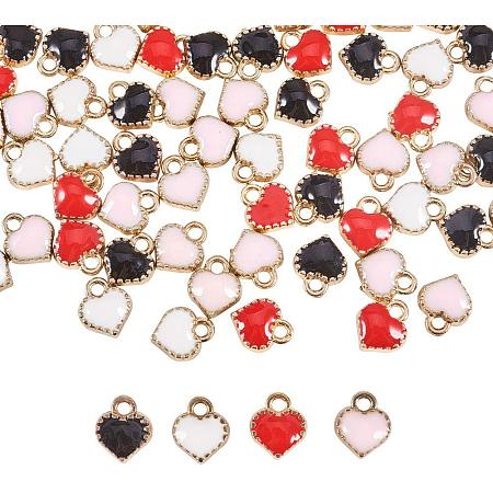 PandaHall Elite 80pcs 4 Color Heart Charms Pendant Gold Plated Enamel Heart Beads Dangle Charms for Valentines Necklace Bracelet Earrings DIY Jewelry Making