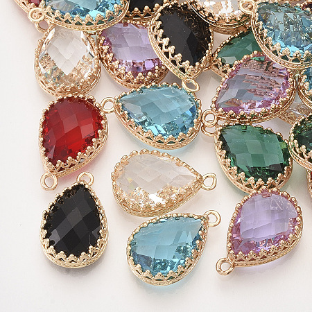 NBEADS Faceted Glass Pendants, with Golden Tone Brass Open Back Settings, Teardrop, Mixed Color, 18.5x12x5.5mm, Hole: 1.4mm