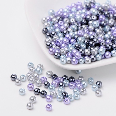 ARRICRAFT 1 Bag(about 400pcs) 4mm Mixed Color Pearlized Glass Pearl Beads - Silver-Grey Mix