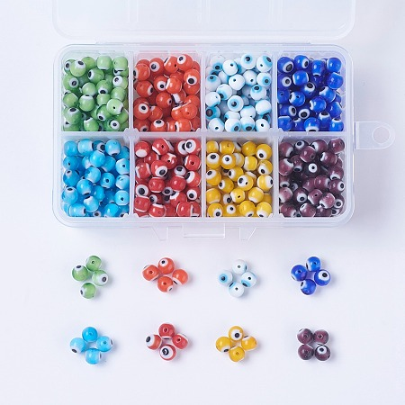 8 Colors Handmade Evil Eye Lampwork Beads, Round, Mixed Color, 6mm, Hole: 1mm; about 60~70pcs/color, 8colors, about 480~560pcs/box