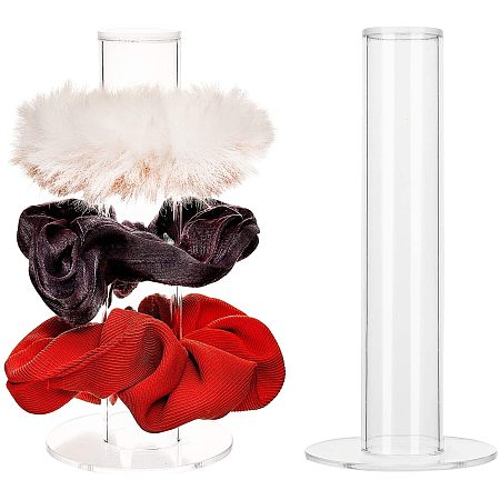 PandaHall Elite 2pcs Acrylic Scrunchies Holder Stand Hairband Display Stand Jewelry Bracelet Display Stand T-Bar Display Holder Organizer Storage for Teen Women Gifts (6 Inch High)