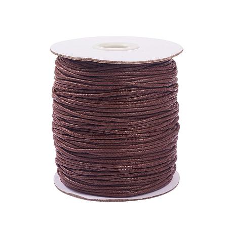 PandaHall Elite 1 Roll 1.5mm Waxed Cotton Cord Thread Beading String 100 Yards per Roll Spool Jewelry Making Macrame Supplies Deep Brown