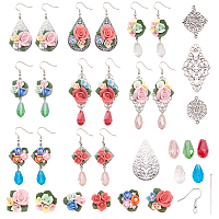 SUNNYCLUE DIY Earring Making, with Tibetan Style Alloy Links, Handmade Porcelain Cabochons, Electroplate Glass Beads and Brass Earring Hooks, Mixed Color, 13.5x7x3cm