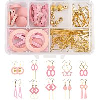 SUNNYCLUE DIY Pink Themed Earring Making Kits, include Wood Pendants & Links & Beads, Brass Linking Rings & Spacer Beads & Earring Hooks, Alloy Linking Rings & Pendant, Iron Findings, Golden, 30x20x2.5mm, Hole: 1.6mm