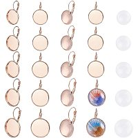 PandaHall Elite 50 Sets Leverback Earring Kits, 5 Sizes Lever Back Hoop Earrings Flat Round Tray Ear Wires Blank Cabochon Setting and Glass Cabochon Tiles for Earring Designs Jewelry Making