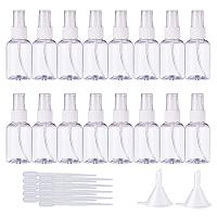 BENECREAT 20 Pack 50ml(1.7oz) Empty Plastic Mist Mini Spray Bottles Atomizer Pumps & 10 Pack 2ml Plastic Pipette Droppers & 2 Funnels Perfume, Lotion