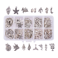 PandaHall Elite 90PCS 15 Style Ocean Fish Seashell Marine Animal Sea Creatures Charms Pendants Antique Silver Tibetan Alloy Sea Charms for DIY Jewelry Making