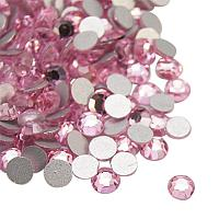 NBEADS About 1440pcs/bag Light Rose Glass Flat Back Rhinestone, Half Round Grade A Back Plated Faceted Gems Stones for Nails Decoration Crafts, 1.9~2mm
