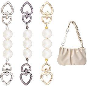 "Pandahall Elite 3 Colors Heart Chain Strap Extender ABS Pearl Bead Purse Strap Short Bag Chain Replacement for Women Phone Case Accessories Pochette Purse Clutch Bag Handbag Decoration, 17.3cm/6.81"""