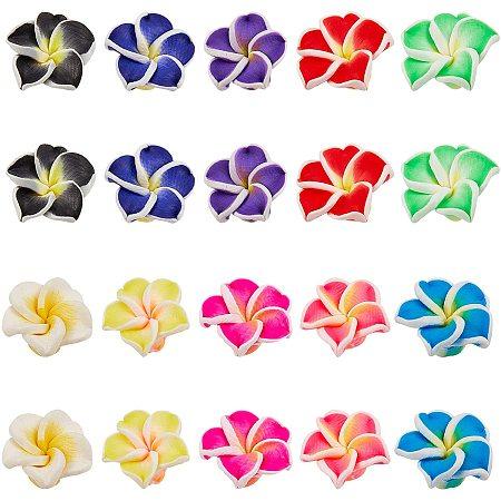 NBEADS 100 Pcs 15mm Polymer Clay Beads, Handmade 3D Flower Plumeria Beads Handmade Clay Beads for Jewelry Making
