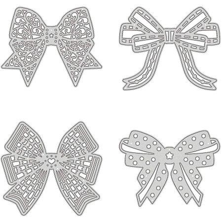 PandaHall Elite Metal Cutting Dies Stencils, 4 pcs Bowknot Shape Carbon Steel Scrapbooking Dies Cuts Scrapbooking Die Cuts Stencils Template Embossing for DIY Scrapbooking Card Making