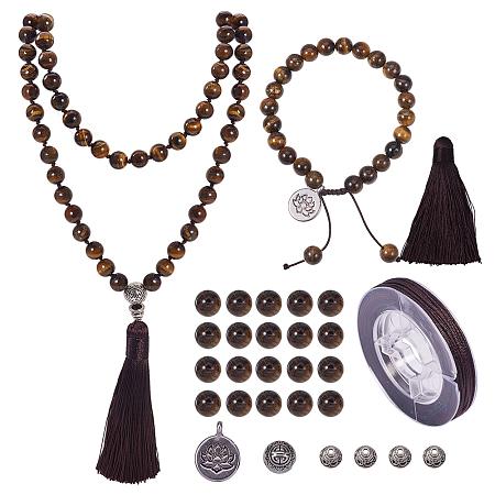 Gemstone necklace mala Sandalwood Mala necklace 108 beads tassel necklace beaded knotted mala beads Yoga jewelry prayer bead necklace