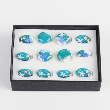 ARRICRAFT 1 Box(12pcs) Ocean Style Flat Round Handmade Lampwork Glass Beads Starfish CornflowerBlue, 20x10mm, Hole: 2mm