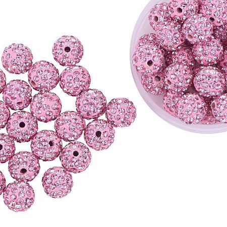 ARRICRAFT 100 Pcs 10mm Light Rose Shamballa Pave Disco Ball Clay Beads, Polymer Clay Rhinestone Beads Round Charms Jewelry Makings