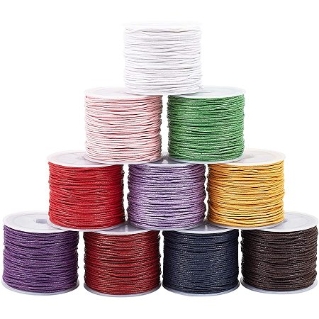 PandaHall Elite 10 Rolls 10 Colors 27 Yards/Roll 1mm Waxed Cotton Cord Thread Beading String for Bracelet Necklace Jewelry Making and Macrame Supplies, Totally 270 Yards