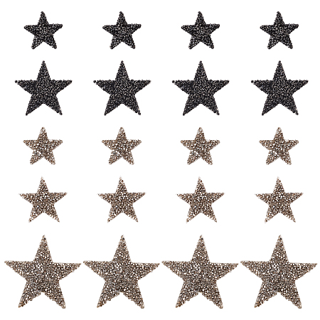Star Rhinestone Patches, Iron/Sew on Appliques, Costume Accessories, for Clothes, Bag Pants, Shoes, Cellphone Case, Mixed Color, 20pcs/set