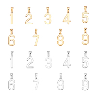 Unicraftale 304 Stainless Steel Pendants, Number 0~9, Golden & Stainless Steel Color, 21x5~11x1.5mm, Hole: 6.5x3mm, 18pcs/box