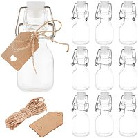 BENECREAT 12 Pack 2oz (60ml) Mini Swing Top Glass Bottles with 20pcs Hang Tags and 1 Bundle Hemp Cord for Wedding Party Favors, Décor