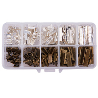 PandaHall Elite 200pcs 5 Size Antique Bronze & Silver Iron Ribbon Ends Bracelet Bookmark Pinch Crimp Clamp End Findings Cord Ends Fasteners Clasp Leather Crimp Ends Jewelry Making