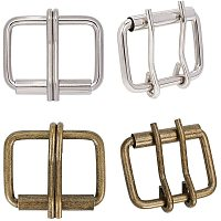 PandaHall 12 Pieces Metal Roller Buckles, Belts Hardware Pin Buckles for Bags Leather Belt Strap Hand DIY Accessories,Antique Bronze & Platinum, 53x40mm