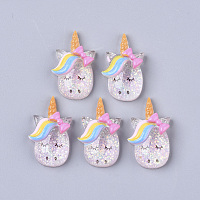 ARRICRAFT Resin Cabochons, with Glitter Sequins, Unicorn, Colorful, 27x16x7mm