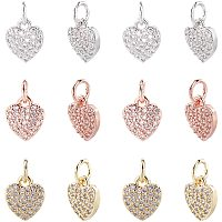 NBEADS 12 Pcs 3 Colors Heart Shape Brass Zirconia Beads Micro Pave Cubic Zirconia Stones Heart Charm Pendant Beads for Jewelry Making