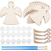 Unfinished Blank Angle Wooden Slices, for DIY Painting, Christmas Tree Hanging DIY Crafts Decor, include Paint Pots Strips, Brush Pens, Mixed Color, 85x78x2mm, 50pcs/set